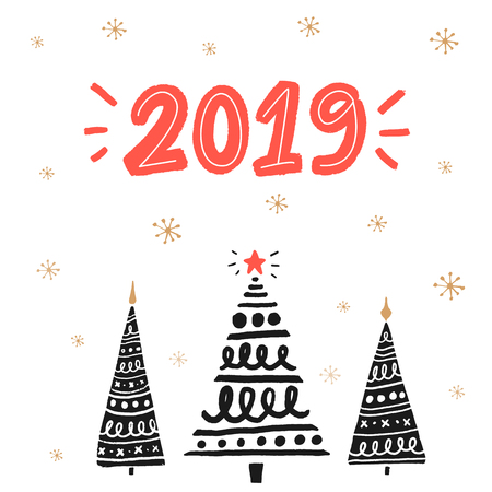 2019 new year greeting card with hand drawn Christmas trees. Red handwritten number.