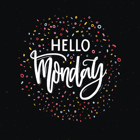 Hello Monday text on dark black background with colorful dots and marks. Hand lettering banner for week start. Ilustrace