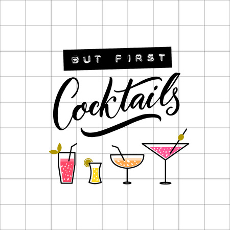 But first cocktails. Embossed tape and brush calligraphy on squared paper. Reklamní fotografie - 95851707