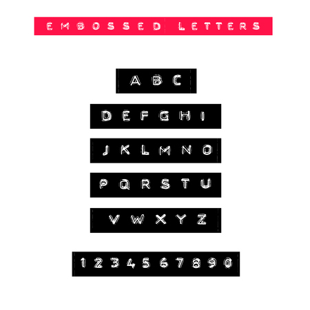 Embossed letters tape font. Vintage adhesive label type. Vector alphabet.