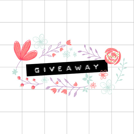 Giveaway embossed word on plastic tape. Hand drawn florals and branches on squared paper.