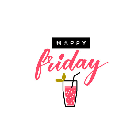 Happy friday banner with embossed and calligraphy text and cocktail illustration. Illustration