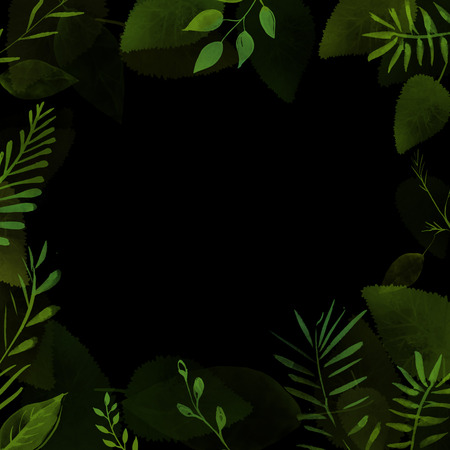 Wild nature dark frame with plants border. Green background for summer invitations, sale and branding design. Hand painted stems and leaves.