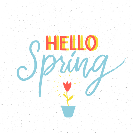 Hello spring - minimalistic calligraphy inscription and small growing tulip flower. Illustration