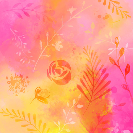 Abstarct nature background with watercolor texture and traces of plants, flowers and leaves. Pink and orange mix of colors. Stock Photo