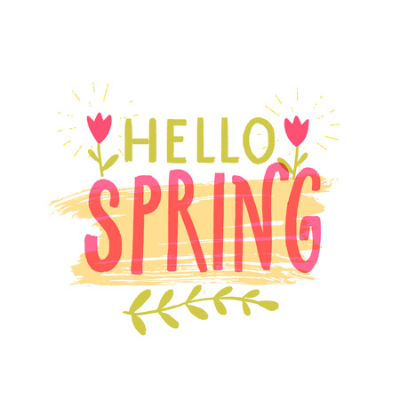 Hello spring banner with hand drawn letters, pink and green colors, decorated with small tulip flower.