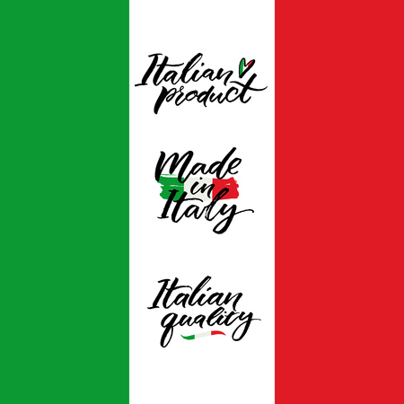 Made in Italy, Italian product and Italian quality calligraphy inscriptions for packaging, labels and tags. Handwritten words on flag. Illustration
