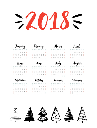 One page calendar 2018 with calligraphy months. Week starts from Sunday. Simple and clean grid template with hand drawn Christmas trees. Vector design. Illustration