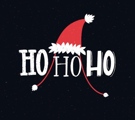 Cartolina di Natale divertente con testo ho ho ho. Saluti scritte a mano. Vettoriali