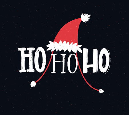 Funny Christmas card with text ho ho ho. Hand lettering greetings.
