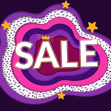 Sale papercut banner. Big word on bright paper background. Violet, purple and yellow colors.