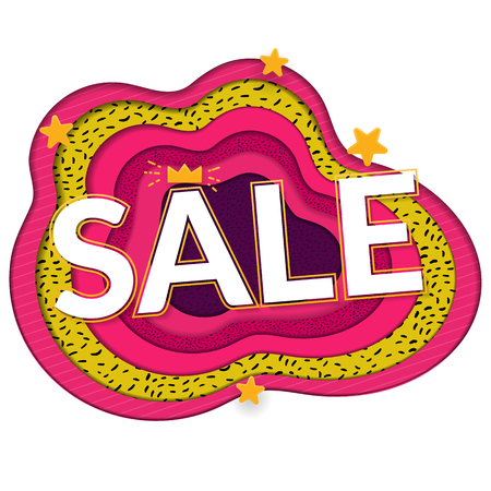 Sale papercut banner. Big word on bright paper background. Pink, white ang green colors. 向量圖像