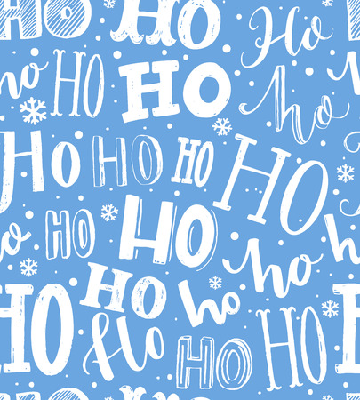 Hand drawn Christmas pattern. Seamless background with text hohoho. Gift wrapping blue and white paper.