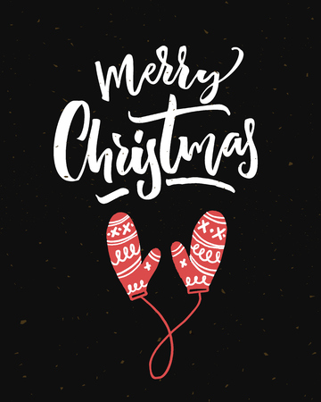 Merry Christmas card on black background with calligraphy and red mittens. Illustration