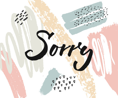 Sorry card with calligraphy word on abstract paint stains