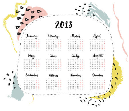 One page 2018 calendar, 4 columns with calligraphy written month names. Abstract hand drawn modern minimalistic background with brush strokes and marks. 版權商用圖片 - 97422818