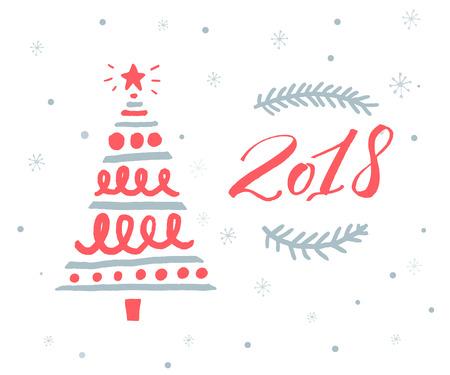 赤い数字と手描きのクリスマスツリーと2018年の新年のグリーティングカードテンプレート