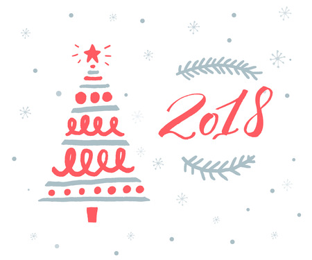 2018 new year greeting card template with red numbers and hand drawn Christmas tree Vettoriali