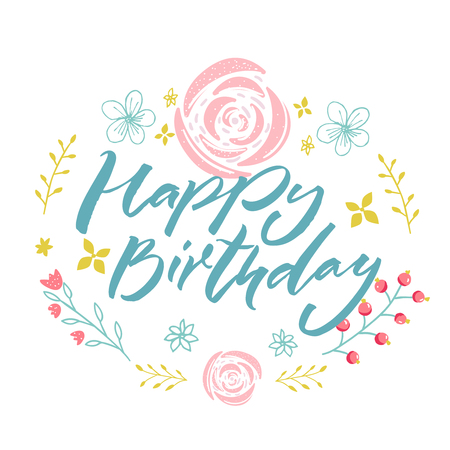Happy Birthday - blue text in floral wreath with pink flowers and branches. Greeting card template.