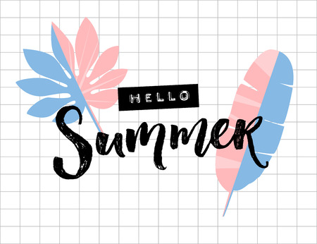 Hello summer text on squared paper background. Palm and banana leaves. Brush lettering and embossed tape word.