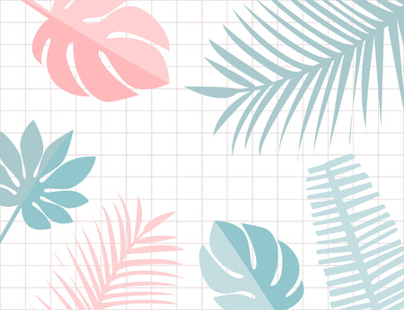 Tropical leaves frame with copyspace. Pastel pink and blue tropic summer background. Monstera and leaf