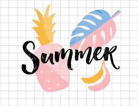 Sommerplakat. Kalligraphiewort mit Ananas-, Monstera-Blatt- und Bananenillustrationen.