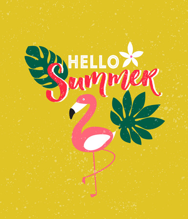 Hello summer poster with brush calligraphy, tropical palm leaves and flamingo illustrations.