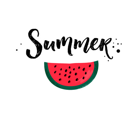 Summer calligraphy inscription and red ripe watermelon slice isolated on white background Vetores