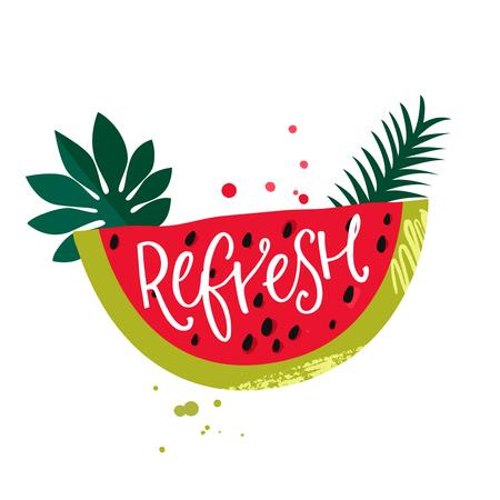 Resfresh inscription handwritten on watermelon slice with paint splash. Summer party design Ilustração