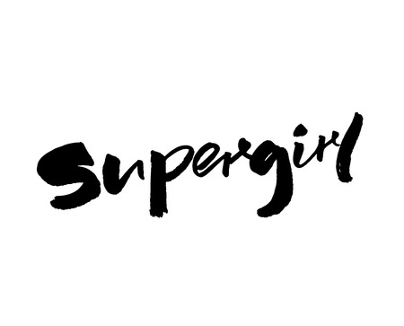 Supergirl - handwritten with brush and ink word. Calligraphy caption, feminism slogan. Illustration