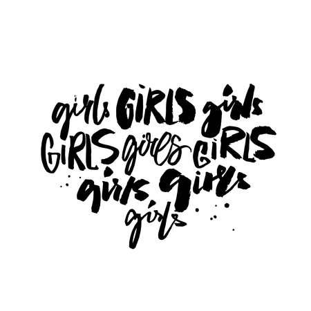 Handwritten words girl in different modern calligraphy styles. Feminism t-shirt print. Black ink caption. Feminism slogan.