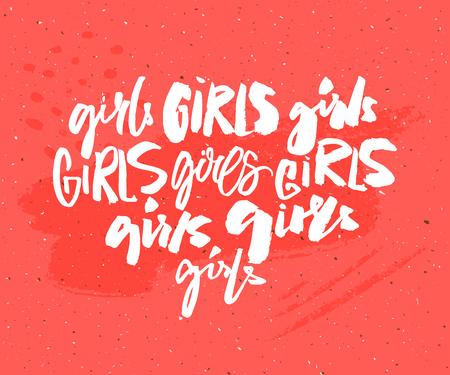 Handwritten word girl in different brush lettering styles. Feminism t-shirt print. Graffiti caption. Feminist slogan