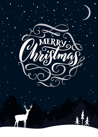 Merry Christmas calligraphy text. Christmas card design, night scene with snow, deer and forest.