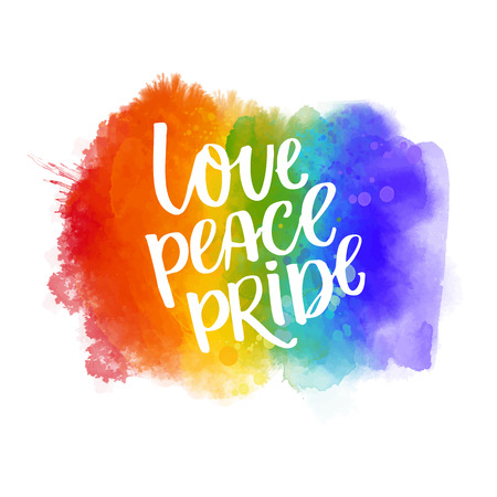 Love, peace, pride. Gay parade slogan handwritten on rainbow watercolor texture