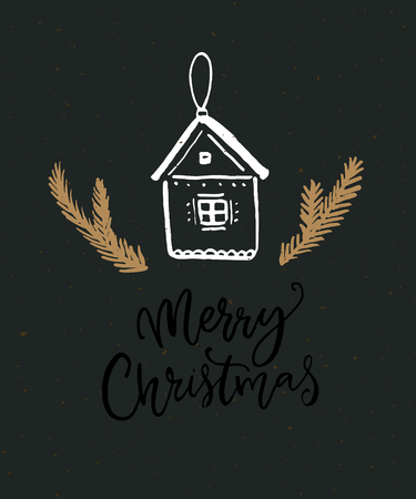 Merry Christmas calligraphy card. Black background with hand drawn house decoration. Stock Photo - 114514728