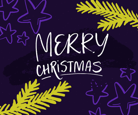 Merry Christmas card with hand lettering and christmas tree branches. Green twigs and stars on violet background.