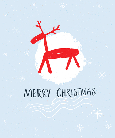 Merry Christmas hand lettering and hand drawn illustration of red deer at blue background Stock Photo