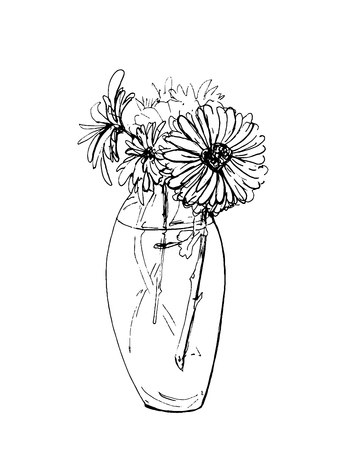 Hand drawn ink sketch of bunch of flowers in the vase. Pen drawing of bouquet.