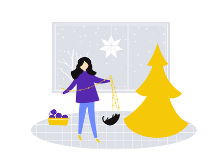 Girl standing and holding a garland, decorating a Christmas tree. Cat plays with fairy lights. Flat illustration of room, cozy winter scene