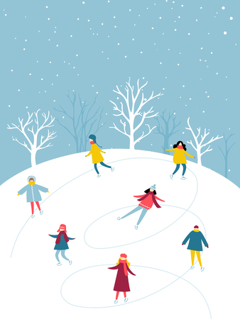 Winter activity, people group is skating on ice rink outdoor. Flat illustration of holidays fun.