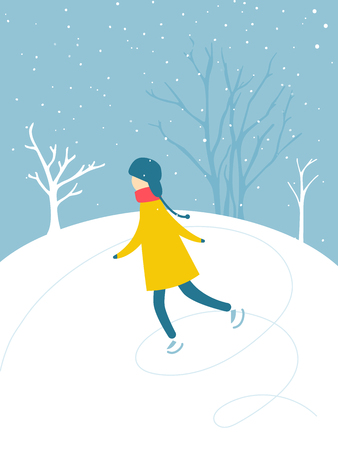 Single boy is skating on ice rink outdoor. Snow falling down, trees silhouettes. Winter activity, holidays fun flat illustration