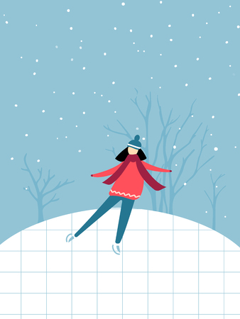 Single girl in pink sweater and scarf is skating on ice rink, winter outdoor activity. Flat illustration of holidays recreation. Ilustração