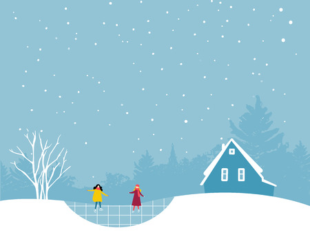 Two girls skating on ice rink. Winter landcsape flat illustration with trees and small house cabin