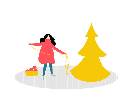 Girl standing and holding a garland, decorating a Christmas tree. Flat illustration of room, cozy winter scene