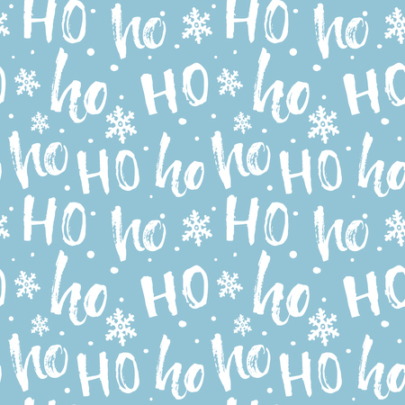 Hohoho pattern, Santa Claus laugh. Seamless background for Christmas design. Vector blue texture with handwritten words ho  イラスト・ベクター素材