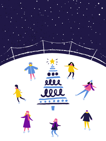 People skating on ice rink in the evening near the decorated christmas tree. Winter scene, flat illustration.