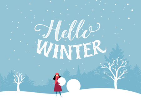 Hello winter inscription. Flat illustration of winter scene, girl builds a snowman. Winter fun outdoor activity, hand lettering greeting card Illustration