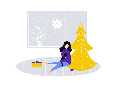 Girl sit and hold a cat near partly decorated Christmas tree. Flat illustration of room with big window, funny cozy winter scene