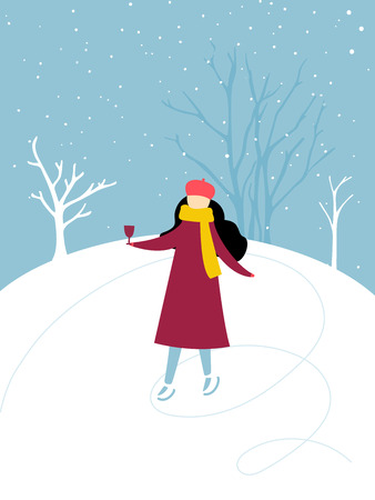 Single girl skating on ice rink holding a glass of hot wine, winter outdoor activity. Flat illustration, winter holidays fun