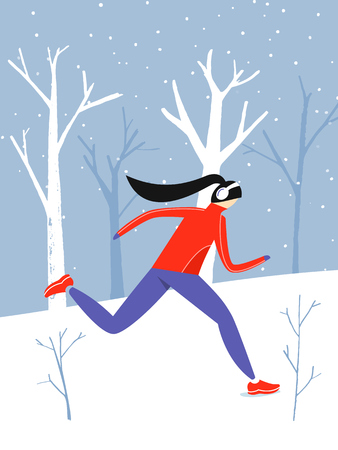 Running woman character, winter outdoor activity at park with snow. Winter jogging